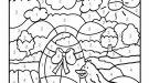 Dibujo mágico de un polluelo de Pascua: dibujo para colorear e imprimir