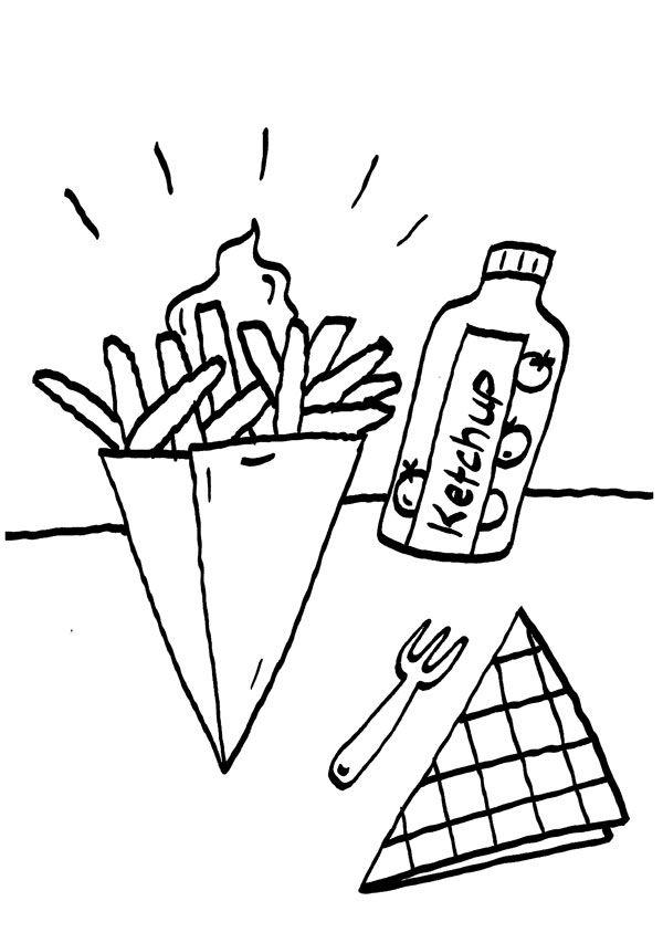 patatas fritas dibujo para colorear e imprimir