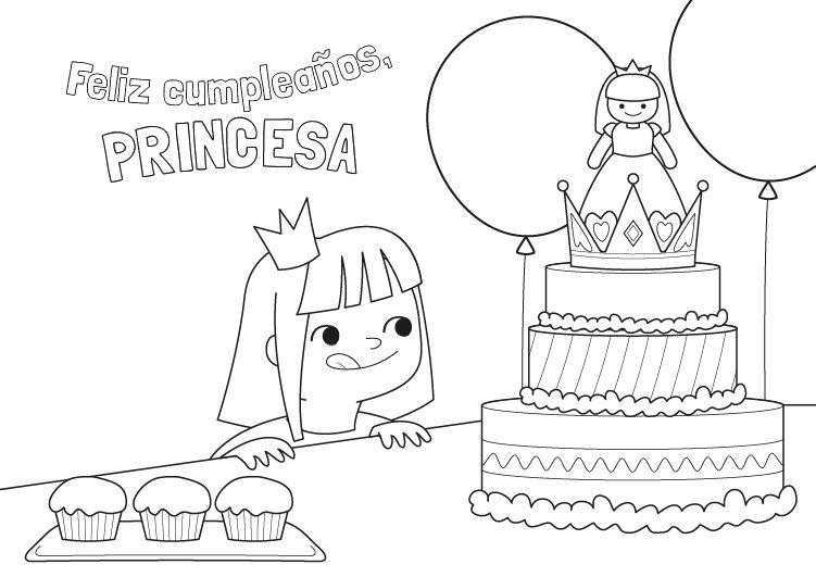 Dibujos Para Colorear De Cumpleanos Para Imprimir: Cumpleaños De La Princesa: Dibujo Para Colorear E Imprimir