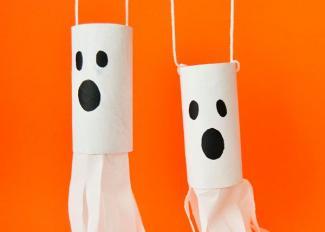 Vídeo de fantasma colgante. Manualidades de Halloween