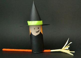 Vídeo de manualidad de bruja con escoba para Halloween