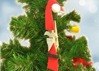 Vídeo de manualidad de Papá Noel con pinza para Navidad