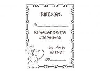 Dibujos de diplomas para colorear el Día del Padre