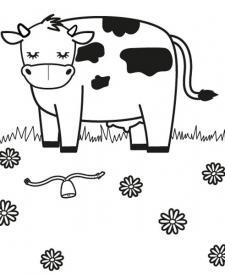 Vaca en un prado: dibujo para colorear e imprimir
