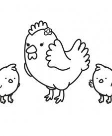 Gallina con sus pollitos: dibujo para colorear e imprimir