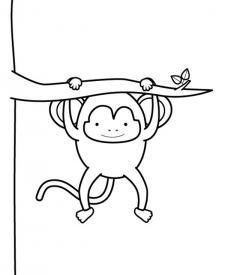 Mono divirtiéndose: dibujo para colorear e imprimir
