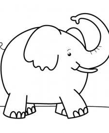 Elefante feliz: dibujo para colorear e imprimir