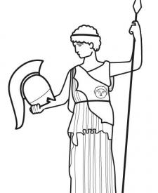 Estatua de diosa griega: dibujo para colorear e imprimir