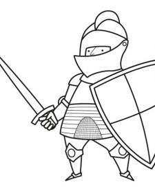 Caballero con armadura y escudo: dibujo para colorear e imprimir