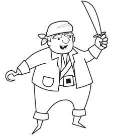 Pirata con espada: dibujo para colorear e imprimir