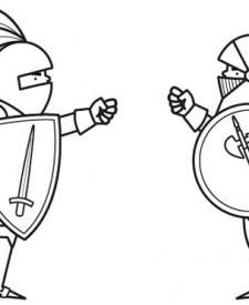Combate de caballeros: dibujo para colorear e imprimir