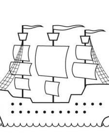Barco pirata sin bandera: dibujo para colorear e imprimir