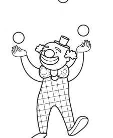 Los payasos del circo: dibujo para colorear e imprimir
