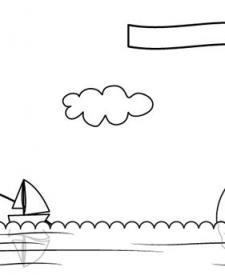 Paisaje de playa: dibujo para colorear e imprimir
