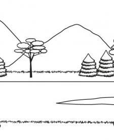 Paisaje de montaña en verano: dibujo para colorear e imprimir