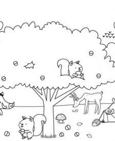 Paisaje de otoño con animalitos: dibujo para colorear e imprimir