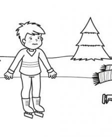 Pista de hielo en el campo: dibujo para colorear e imprimir