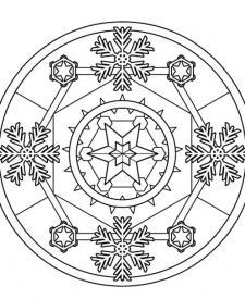 Mandala de invierno: dibujo para colorear e imprimir