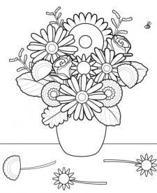Ramo de flores: dibujo para colorear e imprimir