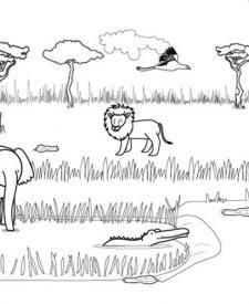 Animales de la sabana: dibujo para colorear e imprimir