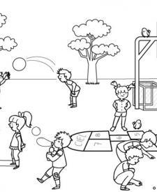 Niños en el recreo: dibujo para colorear e imprimir
