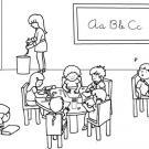 Niños en clase: dibujo para colorear e imprimir