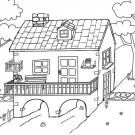 Bonita casa: dibujo para colorear e imprimir