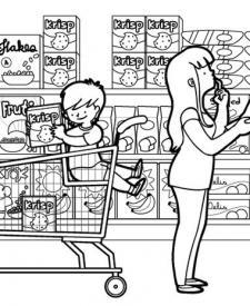 Supermercado: dibujo para colorear e imprimir