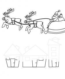 Papá Noel volando en su trineo: dibujo para imprimir y colorear