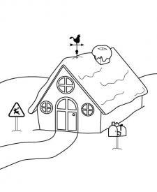 La casa de Papá Noel: dibujo para imprimir y colorear