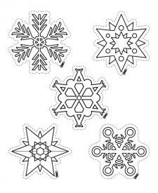 Copos y estrellas de Navidad: dibujos para colorear e imprimir