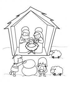 Pesebre en Navidad: dibujo pra colorear e imprimir