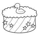Tarta de cumpleaños 2 años: dibujo para colorear e imprimir