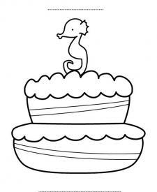Tarta de cumpleaños 3 años: dibujo para colorear e imprimir