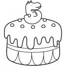 Tarta de cumpleaños 5 años: dibujo para colorear e imprimir