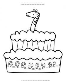 Tarta de cumpleaños 7 años: dibujo para colorear e imprimir