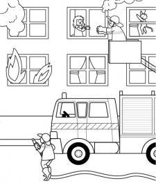 Bomberos: dibujo para colorear e imprimir