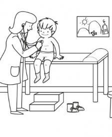 Consulta del médico: dibujo para colorear e imprimir