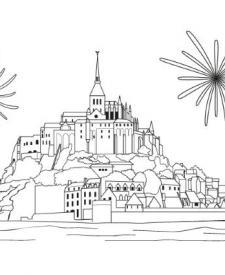 Mont Saint Michel: dibujo para colorear e imprimir