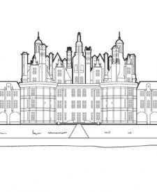 Castillo del Loira: dibujo para colorear e imprimir