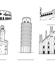 Italia: dibujo para colorear e imprimir