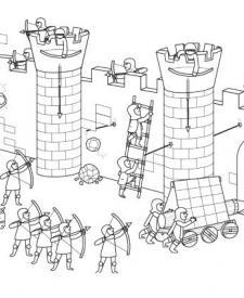 Asalto al castillo: dibujo para colorear e imprimir