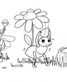 La cigarra y la hormiga: dibujo para colorear e imprimir