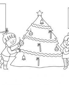 Niños y árbol de Navidad: dibujo para colorear e imprimir