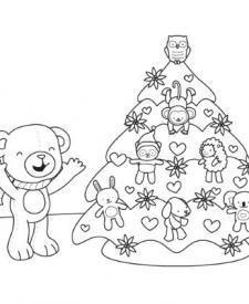 Un osito y su árbol de Navidad: dibujo para colorear e imprimir
