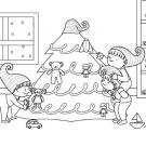 Duendes de Papá Noel: dibujo para colorear e imprimir