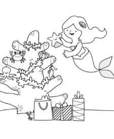 La Sirenita y su árbol de Navidad: dibujo para colorear e imprimir