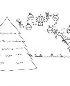 El hada y su árbol de Navidad: dibujo para colorear e imprimir
