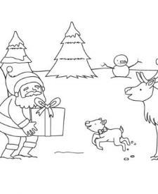 Papá Noel y el reno Rodolfo: dibujo para colorear e imprimir