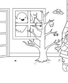 Papá Noel y los monstruos: dibujo para colorear e imprimir